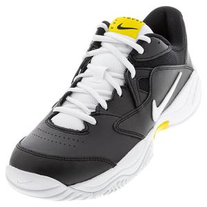 Men`s Court Lite 2 Tennis Shoes Black and Speed Yellow