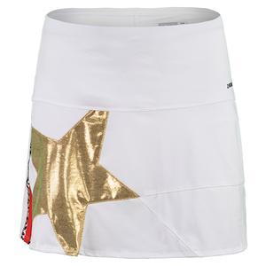 Women`s Long Gold Star Tennis Skort White and Metallic Gold