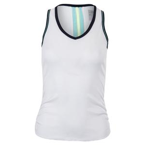 Women`s Lightweight Rib Tennis Tank White with Midnight Trim