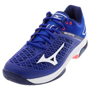 Men`s Wave Exceed Tour 4 AC Tennis Shoes Blue and White