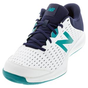 Men`s 696v4 4E Width Tennis Shoes White and Pigment