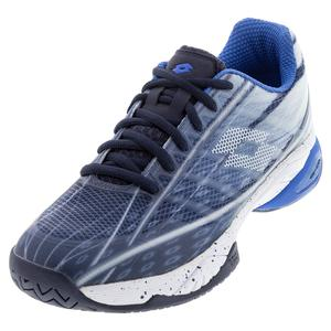 Men`s Mirage 300 Speed Tennis Shoes Navy Blue and All White