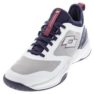 Men`s Mirage 200 Speed Tennis Shoes All White and Navy Blue