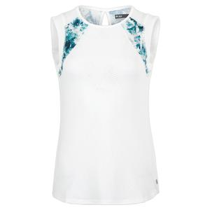 Women`s Power Tennis Tank White and Print