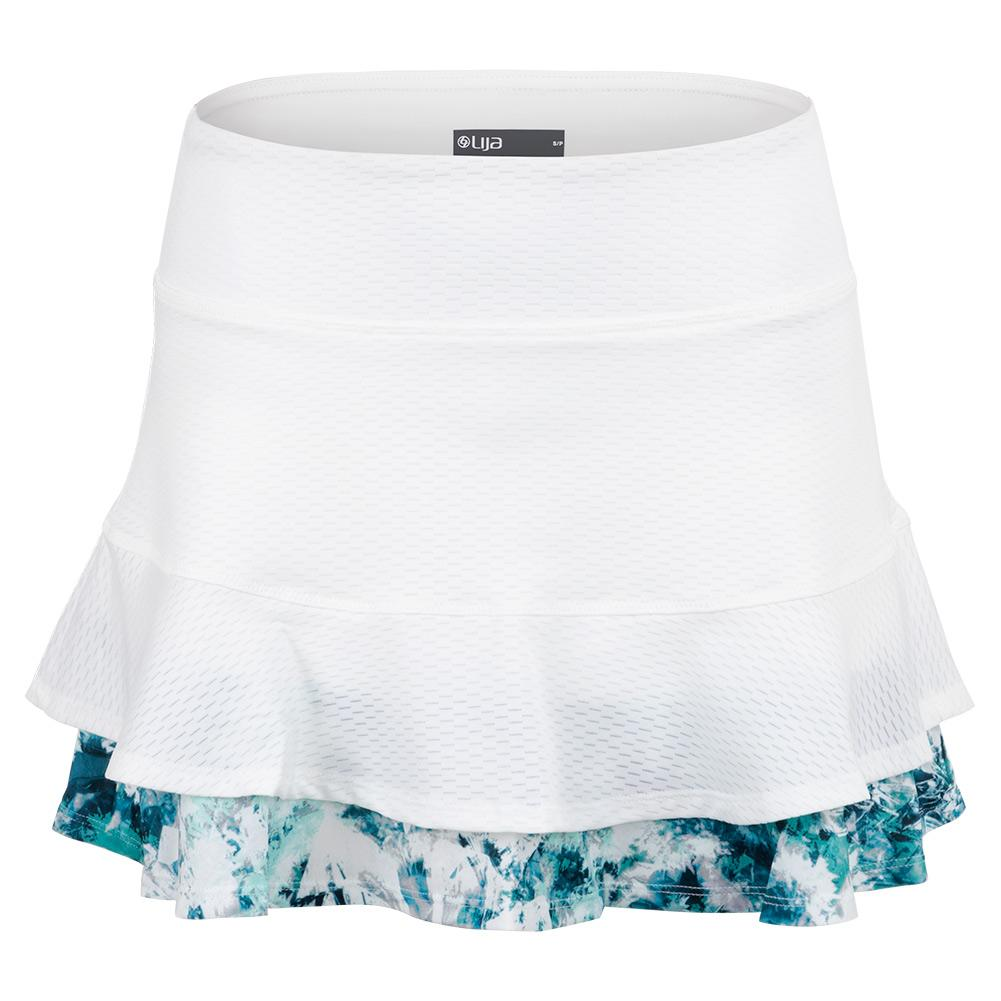 Women's Centre Point Tennis Skort White And Print