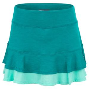 Women`s Centre Point Tennis Skort Peacock and Aqua