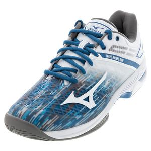 Men`s Wave Exceed Tour 4 AC Tennis Shoes Blue Sapphire and White