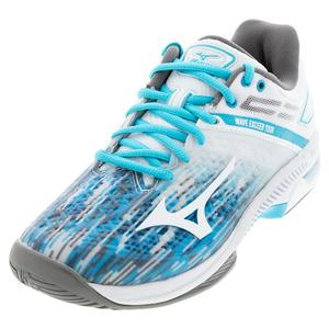 Women`s Wave Exceed Tour 4 AC Tennis Shoes Scuba Blue and White