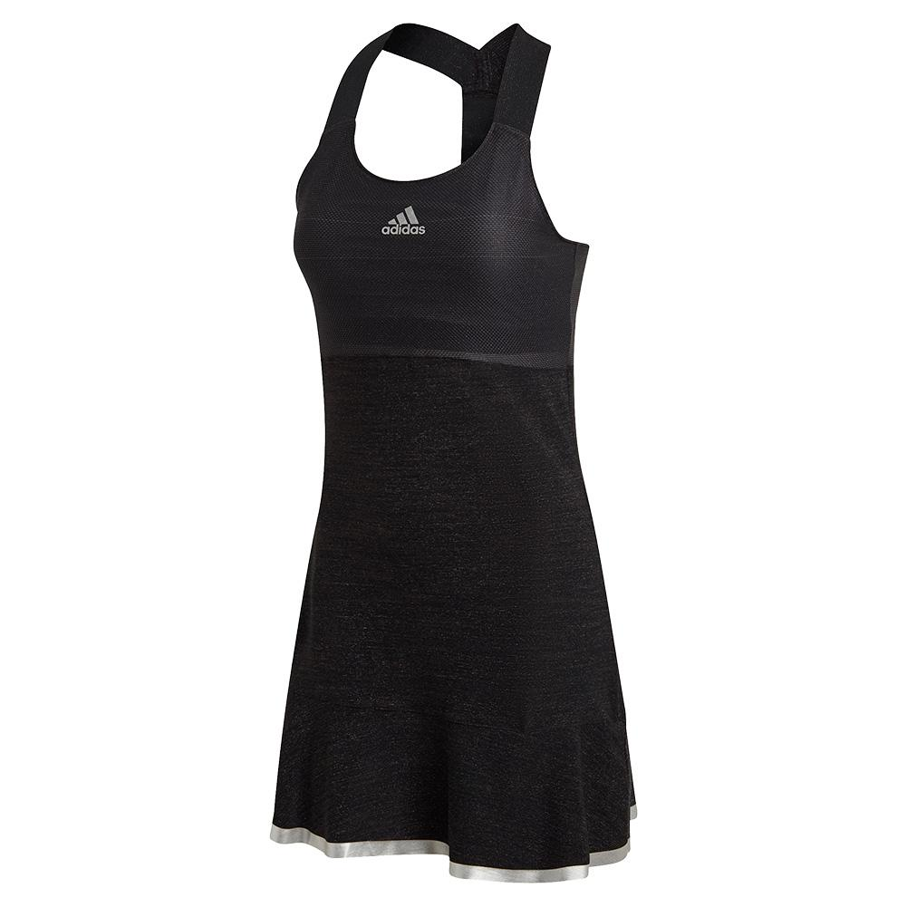 Women's Glam On Y- Back Tennis Dress Black And Silver Metallic