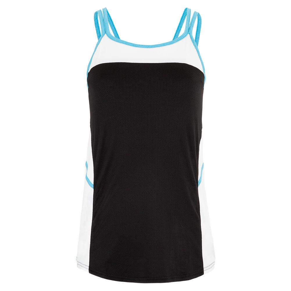 Women's Advantage Tennis Tank Black And White