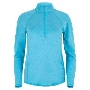 Women`s Long Sleeve Mock Tennis Top Blue Lagoon