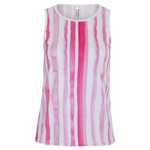 Women`s Lynda Tennis Tank Fuchsia Cascade and White