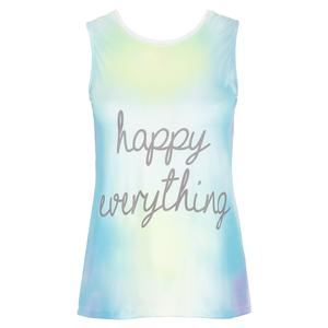 Women`s Happy Everything Tie Back Tennis Tank Multicolor