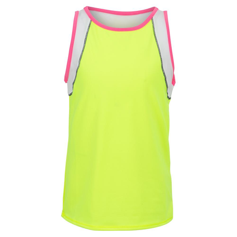 Girls ` Rococo Stripe Tennis Tank Neon Yellow