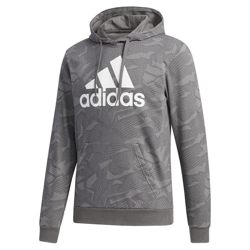 Men's Essentials All Over Print Hoodie Mgh Solid Grey And White