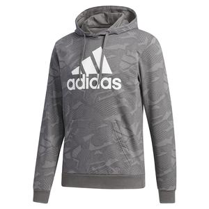 Men`s Essentials All Over Print Hoodie MGH Solid Grey and White