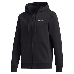Men`s Essential FeelCozy Fleece Hooded Track Jacket Black and White