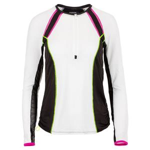 Women`s Raglan Zip Long Sleeve Tennis Top White and Black