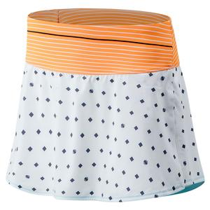 Women`s Printed Tournament Tennis Skort White and Citrus Punch