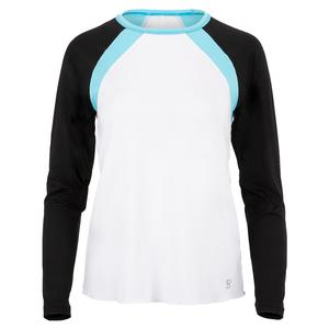 Women`s Long Sleeve Tennis Top White and Black