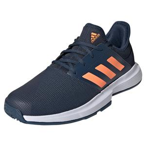 Men`s GameCourt Tennis Shoes Crew Navy and Screaming Orange