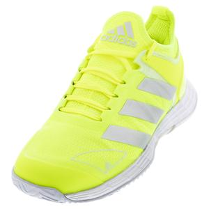 Women`s adizero Ubersonic 4 Tennis Shoes Solar Yellow and Silver Metallic