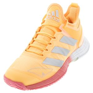 Women`s adizero Ubersonic 4 Tennis Shoes Acid Orange and Silver Metallic