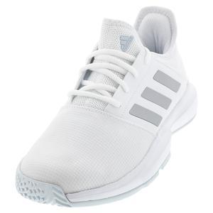 Women`s GameCourt Tennis Shoes Footwear White and Silver Metallic