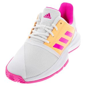 Juniors` CourtJam XJ Tennis Shoes Footwear White and Screaming Pink