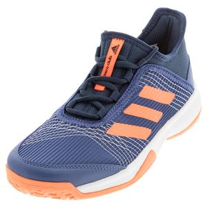 Juniors` adizero Club K Tennis Shoes Crew Navy and Screaming Orange