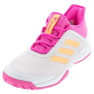 Juniors` adizero Club K Tennis Shoes Footwear White and Acid Orange