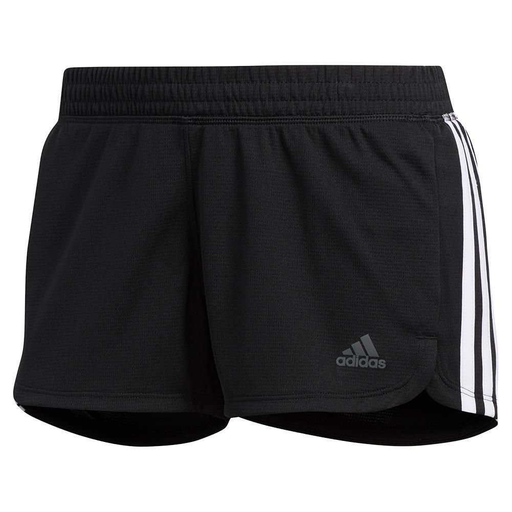 Women's Pacer 3- Stripe Knit Training Short Black And White