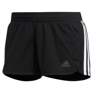 Women`s Pacer 3-Stripe Knit Training Short Black and White