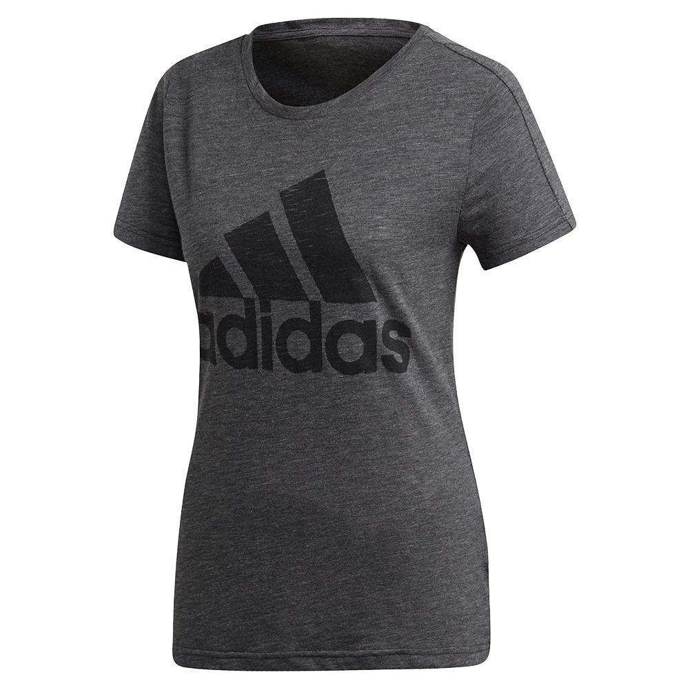 Women's Winners Short Sleeve Crew Training Tee Black Melange