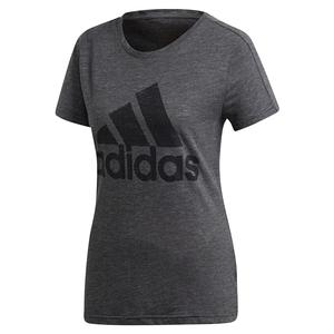 Women`s Winners Short Sleeve Crew Training Tee Black Melange