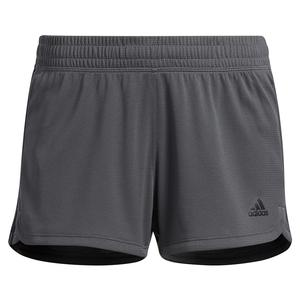 Women`s Pacer 3-Stripe Knit Training Short Grey Six and Black