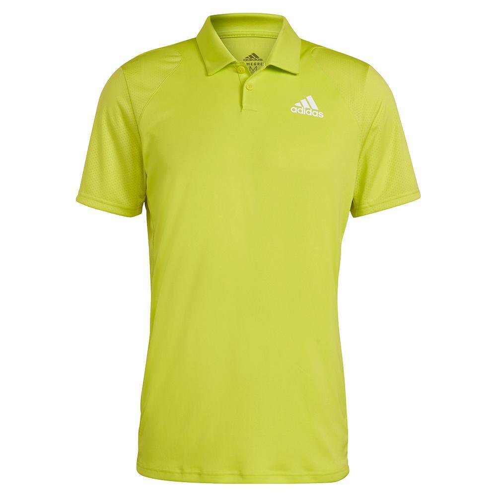 Men's Club Tennis Polo Acid Yellow And White