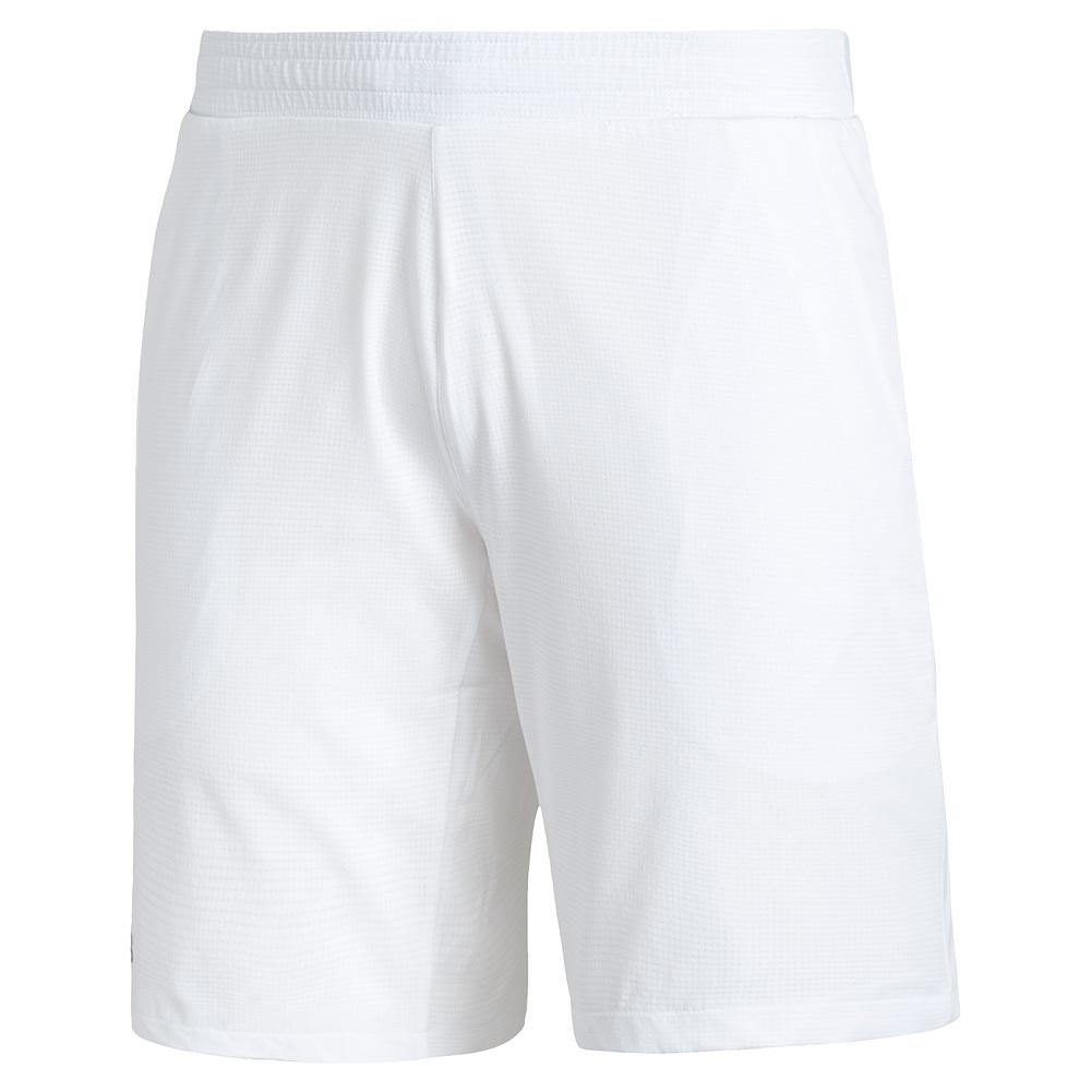 Men's Club Stretch Woven 9 Inch Tennis Short White And Black
