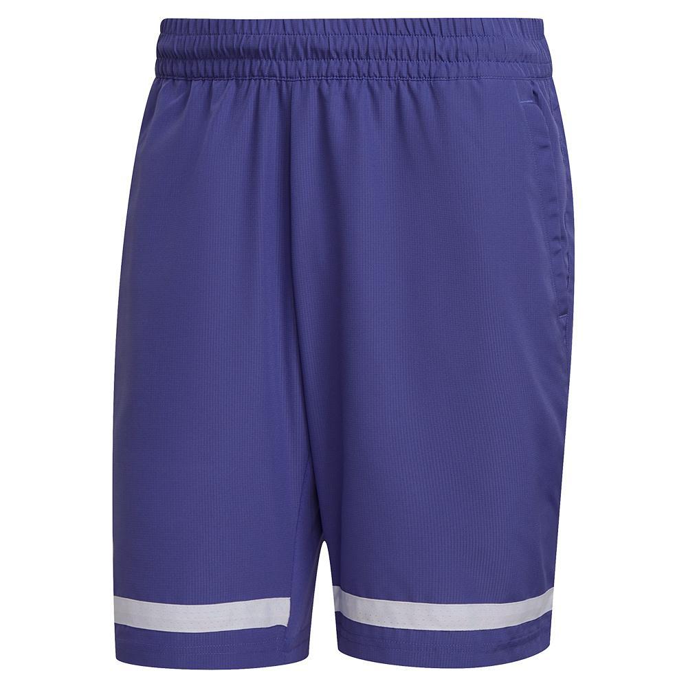 Men's Club 9 Inch Tennis Short Purple And White