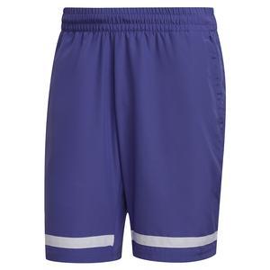 Men`s Club 9 Inch Tennis Short Purple and White