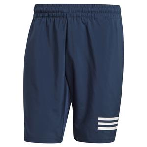 Men`s Club 3-Stripe 9 Inch Tennis Short Crew Navy and White
