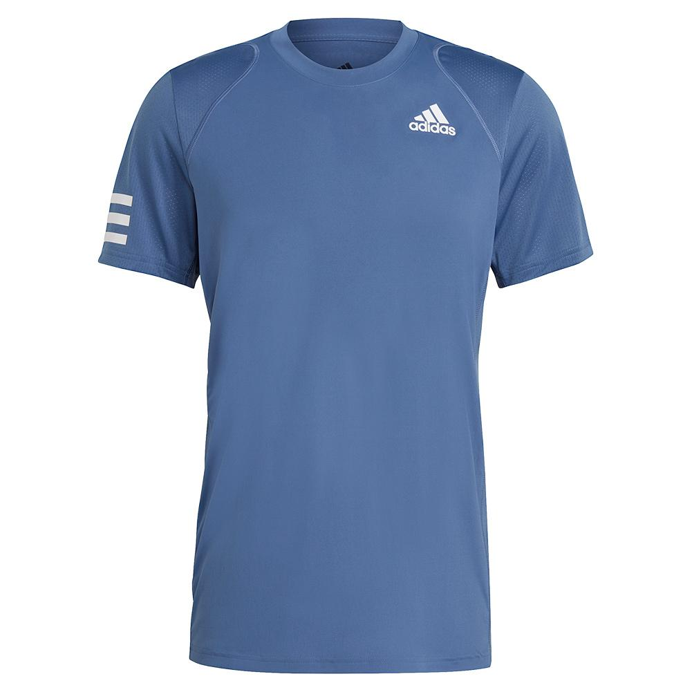 Men's Club 3- Stripe Tennis Top Crew Blue And White