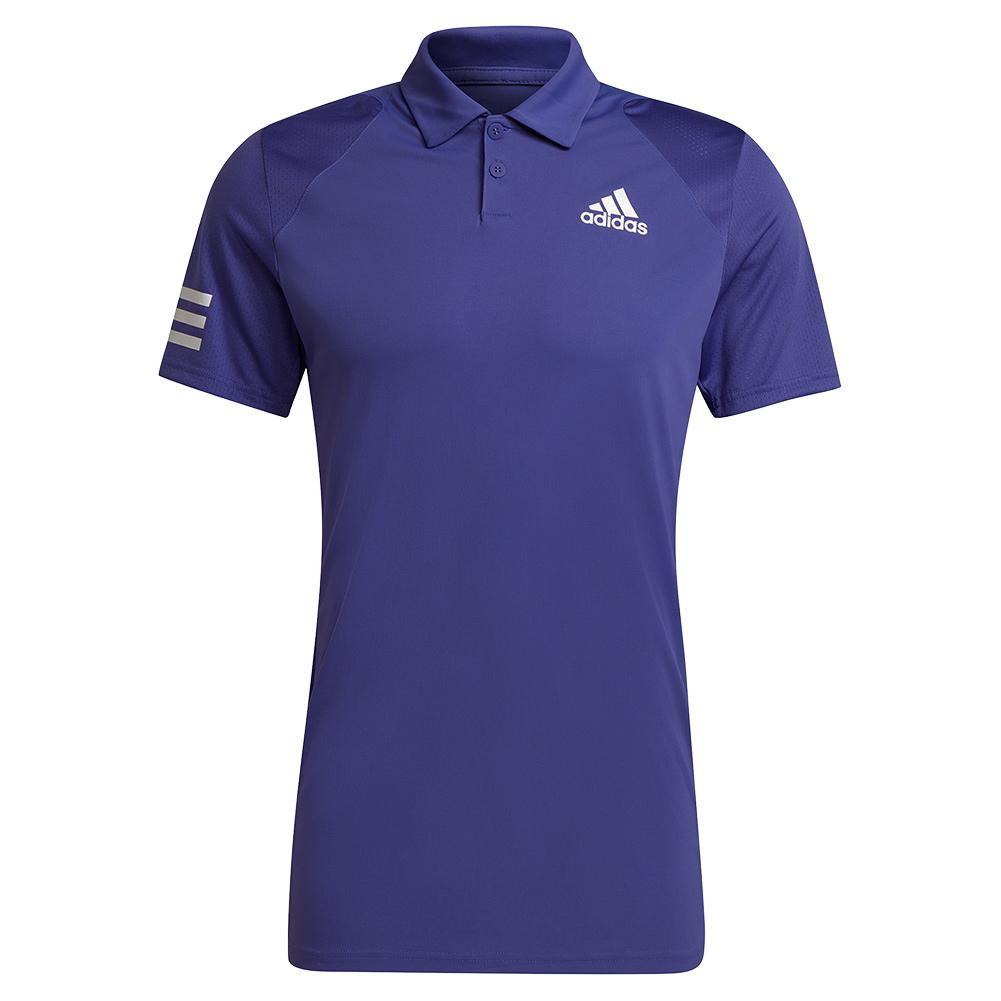 Men's Club 3- Stripe Tennis Polo Purple And White