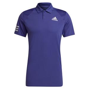 Men`s Club 3-Stripe Tennis Polo Purple and White