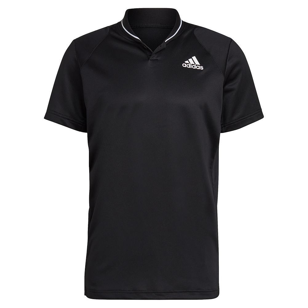 Men's Club Rib Tennis Polo Black And White