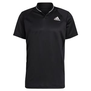 Men`s Club Rib Tennis Polo Black and White