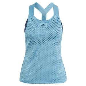 Women`s Primeblue HEAT.RDY Y-Back Tennis Tank Hazy Blue and Crew Navy