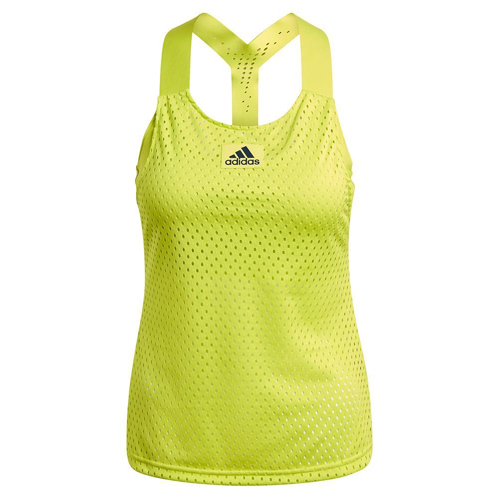Women's Primeblue Heat.Rdy Y- Back Tennis Tank Acid Yellow And Crew Navy