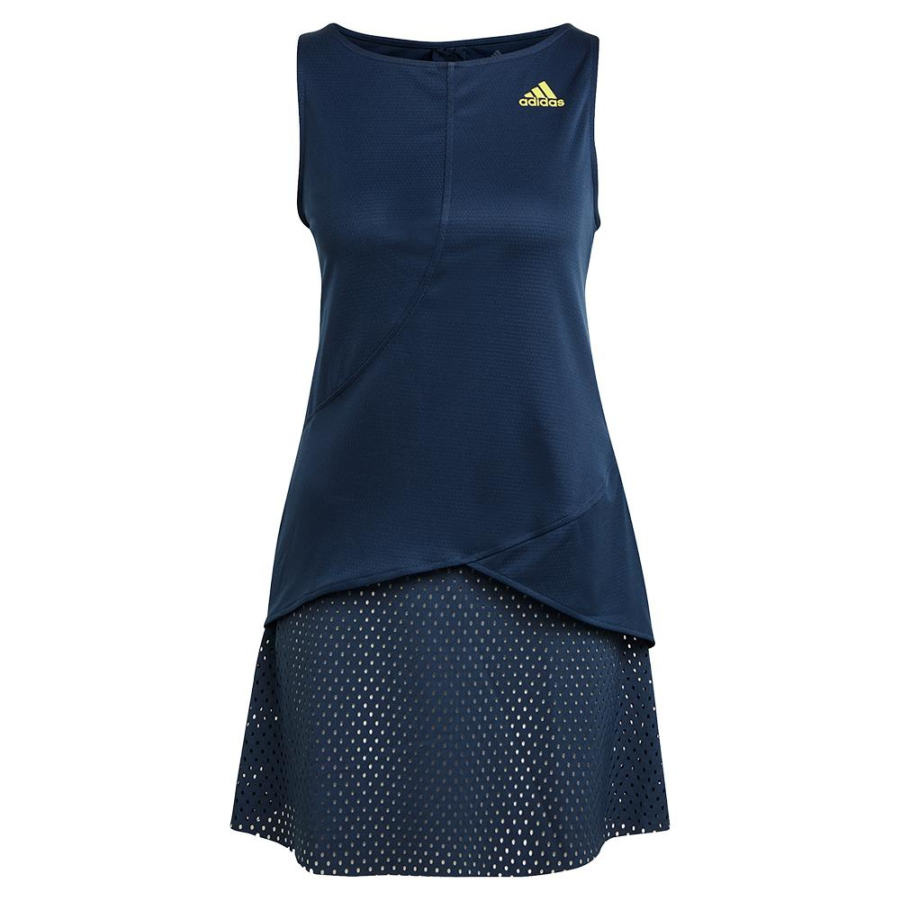 Women's Primeblue Heat.Rdy Tennis Dress Crew Navy And Acid Yellow