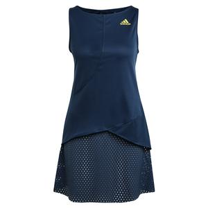 Women`s Primeblue HEAT.RDY Tennis Dress Crew Navy and Acid Yellow